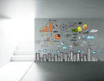 Interno con le scale ed il grafico Fotografia Stock