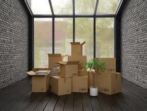 Interno con le scatole di cartone imballate per la rappresentazione di rilocazione 3D Fotografie Stock