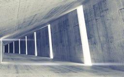Interno concreto astratto vuoto del tunnel Fotografie Stock Libere da Diritti