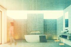 Interno concreto del bagno, tonificato Fotografia Stock Libera da Diritti