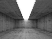Interno concreto della stanza con l'apertura nel soffitto, 3d illustrazione di stock