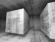 Interno concreto grigio scuro astratto del fondo della sala 3d illustrazione di stock