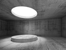 Interno concreto scuro vuoto astratto 3 d Immagine Stock