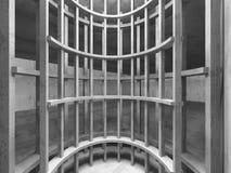 Interno concreto scuro vuoto della stanza Fondo urbano di architettura Immagine Stock Libera da Diritti