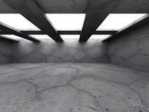 Interno concreto urbano scuro della stanza Backgroun moderno di architettura Fotografie Stock