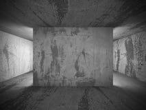 Interno concreto vuoto della stanza scura con luce Fotografia Stock