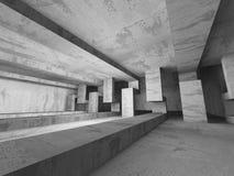 Interno concreto vuoto della stanza scura Priorità bassa urbana di architettura Immagine Stock Libera da Diritti