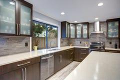 Interno contemporaneo aggiornato della stanza della cucina nei toni bianchi e scuri immagini stock libere da diritti