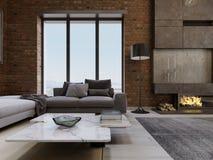 Interno contemporaneo moderno dell'appartamento del salone di progettazione del sottotetto illustrazione vettoriale
