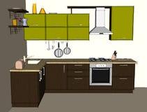 Interno d'angolo moderno della cucina Front View Fotografie Stock Libere da Diritti
