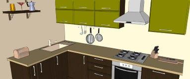 Interno d'angolo moderno verde e marrone della cucina Immagini Stock