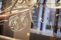 Interno d'annata caldo dell'automobile Fotografie Stock