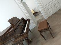 Interno d'annata con un pianoforte a coda classico illustrazione vettoriale