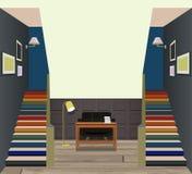 Interno d'annata del corridoio con una scala Progettazione di stanza moderna Immagini Stock