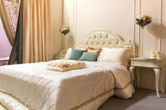 Interno d'annata della camera da letto Fotografia Stock Libera da Diritti