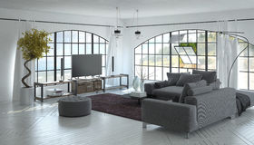 interno 3D del salone con il televisore Immagine Stock Libera da Diritti