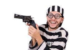 Interno de la prisión con el arma aislado en blanco Imágenes de archivo libres de regalías