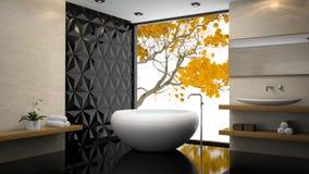 Interno del bagno alla moda con l'orchidea Fotografie Stock Libere da Diritti