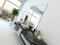 Interno del bagno con il bacino di mano e di vanità illustrazione vettoriale