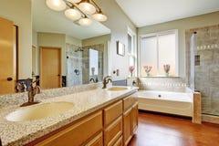 Interno del bagno con il gabinetto della cima del granito Immagine Stock Libera da Diritti