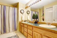 Interno del bagno con il grande gabinetto di vanità Immagini Stock Libere da Diritti