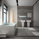 Interno del bagno con la rappresentazione di vista 3D del mare Immagini Stock