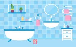 Interno del bagno con mobilia nei colori blu Fotografia Stock