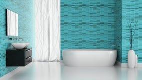 Interno del bagno moderno con la parete blu delle mattonelle Fotografia Stock Libera da Diritti