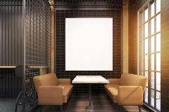 Interno del caffè con la griglia ed i sofà beige, tonificati Fotografia Stock Libera da Diritti