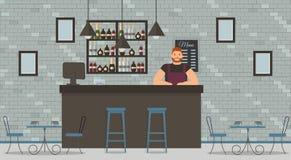Interno del caffè o della barra nello stile del sottotetto royalty illustrazione gratis