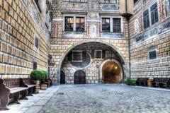 Interno del castello in Cesky Krumlov fotografie stock
