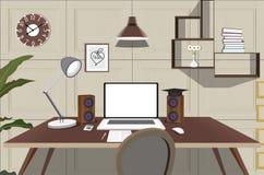 Interno del concetto del posto di lavoro Posto di lavoro dell'illustrazione immagini stock