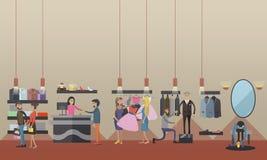 Interno del deposito dei vestiti della donna di modo Illustrazione di vettore Elementi ed insegne di progettazione nello stile pi royalty illustrazione gratis