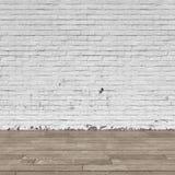 Interno del fondo: pavimento di legno e del muro di mattoni illustrazione vettoriale