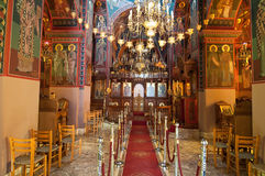 Interno del monastero di Panagia Kalyviani su Creta, Grecia Fotografia Stock