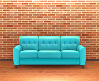 Interno del muro di mattoni con Sofa Realistic illustrazione vettoriale