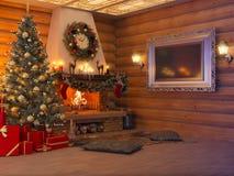 interno del nuovo anno dell'illustrazione 3D con l'albero di Natale, presente Immagine Stock
