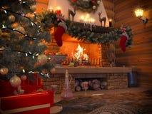 interno del nuovo anno dell'illustrazione 3D con l'albero di Natale, presente Fotografia Stock Libera da Diritti