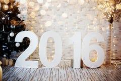 Interno del nuovo anno o di Natale Grandi figure 2016 Fotografia Stock Libera da Diritti