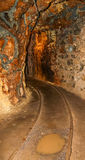Interno del passaggio della miniera in sotterraneo con le rotaie Fotografia Stock Libera da Diritti