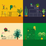 Interno del profilo decorato con i fiori homeplant piani illustrazione vettoriale