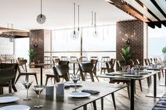 Interno del ristorante europeo moderno illustrazione vettoriale