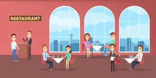 Interno del ristorante in un hotel con la gente dentro illustrazione vettoriale