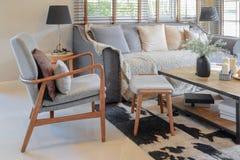 Interno del salone con i cuscini sul sofà e sulla lampada di legno decorativa Fotografie Stock Libere da Diritti