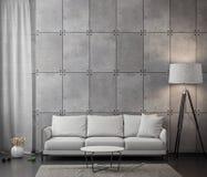 Interno del salone con il muro di cemento, rappresentazione 3D immagine stock libera da diritti