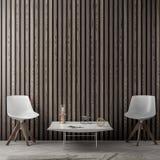 Interno del salone con la parete di legno delle plance, rappresentazione 3D Immagine Stock