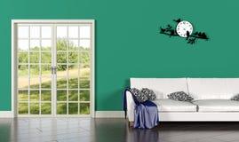 Interno del salone con la parete verde Fotografia Stock Libera da Diritti