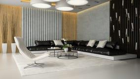 Interno del salone con la poltrona bianca 3D che rende 3 Immagini Stock Libere da Diritti