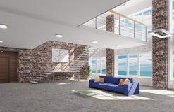 Interno del salone con la rappresentazione blu del sofà 3d Fotografia Stock