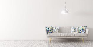 Interno del salone con la rappresentazione della lampada e del sofà 3d Immagine Stock